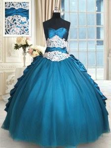 Ball Gowns Vestidos de Quinceanera Teal Sweetheart Taffeta and Tulle Sleeveless Floor Length Lace Up