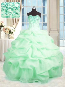 Delicate Apple Green Ball Gowns Organza Sweetheart Sleeveless Beading and Ruffles Floor Length Lace Up Vestidos de Quinceanera