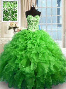 Decent Quince Ball Gowns Military Ball and Sweet 16 and Quinceanera and For with Beading and Ruffles Sweetheart Sleeveless Lace Up