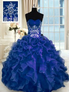 Fashion Navy Blue Quinceanera Gown Military Ball and Sweet 16 and Quinceanera and For with Beading and Appliques and Ruffles Sweetheart Sleeveless Lace Up