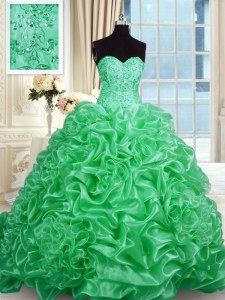 Organza Sweetheart Sleeveless Sweep Train Lace Up Beading Quince Ball Gowns in Green