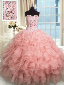 Rose Pink Organza Lace Up Sweetheart Sleeveless Floor Length Quinceanera Dress Beading and Ruffles