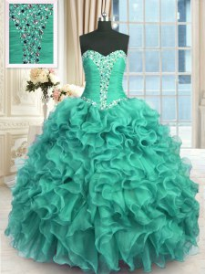 Turquoise Vestidos de Quinceanera Military Ball and Sweet 16 and Quinceanera and For with Beading and Ruffles Sweetheart Sleeveless Lace Up