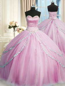 Beautiful Lilac Sleeveless Tulle Court Train Lace Up Quince Ball Gowns for Military Ball and Sweet 16 and Quinceanera
