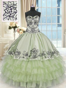 Comfortable Ruffled Floor Length Yellow Green Quinceanera Gowns Sweetheart Sleeveless Lace Up