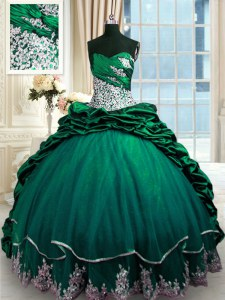 Lace Up Quinceanera Gowns Dark Green for Military Ball and Sweet 16 and Quinceanera with Beading and Appliques and Pick Ups Brush Train