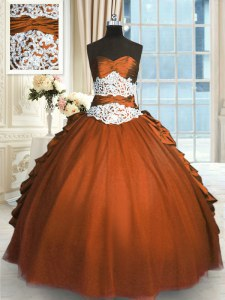 Best Sleeveless Beading and Lace and Ruching and Pick Ups Lace Up Quinceanera Dresses