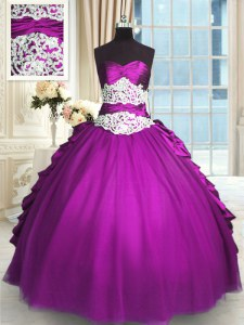 Comfortable Pick Ups Ball Gowns Quinceanera Dress Eggplant Purple Sweetheart Taffeta and Tulle Sleeveless Floor Length Lace Up