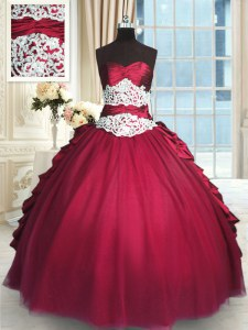 Customized Long Sleeves Floor Length Beading and Lace and Ruching and Pick Ups Zipper Sweet 16 Quinceanera Dress with Red