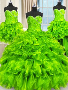 Four Piece Lace Up Sweetheart Beading and Ruffles and Ruching 15 Quinceanera Dress Organza Sleeveless