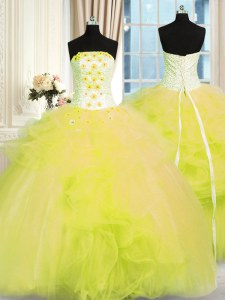 Colorful Beading and Ruffles Quinceanera Dress Yellow Green Lace Up Sleeveless Floor Length