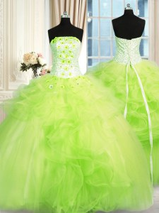 Ball Gowns Tulle Strapless Sleeveless Beading and Ruffles Floor Length Lace Up Quinceanera Dress