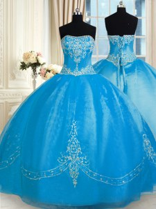 Baby Blue Lace Up Ball Gown Prom Dress Embroidery Sleeveless Floor Length