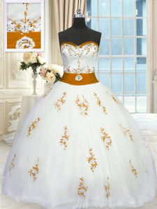 Beauteous Tulle Sweetheart Sleeveless Lace Up Appliques and Belt Quinceanera Dress in White
