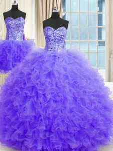 Simple Three Piece Lavender Sleeveless Beading and Ruffles Floor Length Sweet 16 Dress