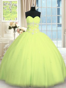 Noble Sleeveless Tulle Floor Length Lace Up Sweet 16 Dress in Yellow Green with Appliques
