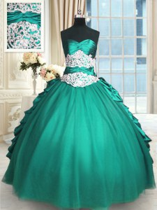 Great Floor Length Turquoise Quinceanera Dresses Sweetheart Sleeveless Lace Up