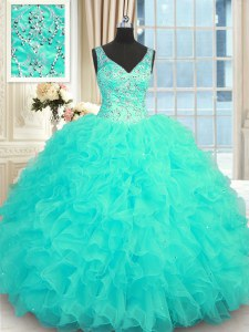 Cheap Aqua Blue Sleeveless Organza Zipper Quince Ball Gowns for Military Ball and Sweet 16 and Quinceanera