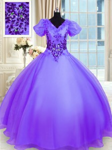 Short Sleeves Lace Up Floor Length Appliques Sweet 16 Dress