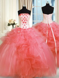 Floor Length Watermelon Red Quinceanera Dresses Tulle Sleeveless Pick Ups and Hand Made Flower