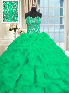 Cute With Train Lace Up Quinceanera Dress Turquoise for Military Ball and Sweet 16 and Quinceanera with Beading and Ruffles Brush Train