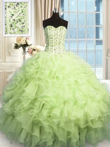 Most Popular Sequins Sweetheart Sleeveless Lace Up 15 Quinceanera Dress Yellow Green Organza