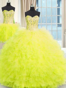 Three Piece Ball Gowns 15 Quinceanera Dress Yellow Strapless Tulle Sleeveless Floor Length Lace Up