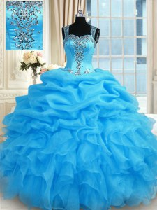New Style Floor Length Baby Blue Quinceanera Dresses Straps Sleeveless Zipper