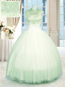 Eye-catching Green Tulle Zipper High-neck Sleeveless Floor Length Quinceanera Gown Beading