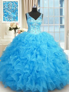Sleeveless Organza Floor Length Zipper Sweet 16 Dresses in Blue with Beading and Ruffles