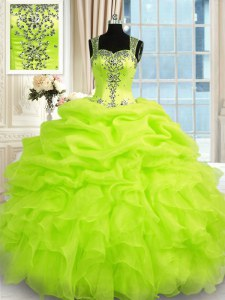 Floor Length Zipper Quinceanera Dress for Military Ball and Sweet 16 and Quinceanera with Beading and Ruffles