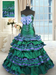 Adorable Dark Green Quince Ball Gowns Taffeta Brush Train Sleeveless Appliques and Embroidery and Ruffled Layers and Bowknot