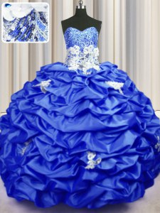 Free and Easy Taffeta Sleeveless With Train Quinceanera Dresses Brush Train and Appliques and Sequins and Pick Ups