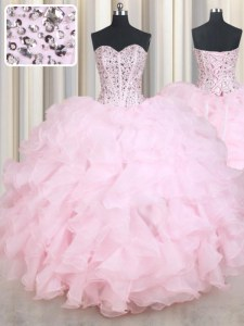 Elegant Baby Pink Organza Lace Up Sweetheart Sleeveless Floor Length Sweet 16 Dress Beading and Ruffles