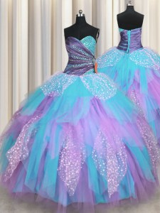 Gorgeous Multi-color Tulle Lace Up Quince Ball Gowns Sleeveless Floor Length Beading and Ruching