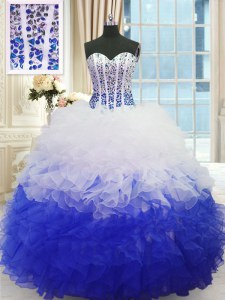 Cute Sleeveless Lace Up Floor Length Beading and Ruffles Quinceanera Gown