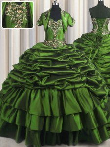 Pick Ups With Train Ball Gowns Sleeveless Green 15th Birthday Dress Brush Train Lace Up
