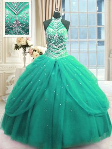 Trendy Turquoise Sleeveless Floor Length Beading Lace Up Vestidos de Quinceanera