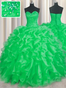 Green Sweetheart Neckline Beading and Ruffles Quinceanera Dresses Sleeveless Lace Up