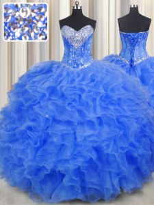 Sleeveless Organza Floor Length Lace Up Sweet 16 Dresses in Royal Blue with Beading and Ruffles