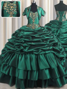 Sweetheart Sleeveless 15th Birthday Dress With Brush Train Beading and Appliques and Pick Ups Peacock Green Taffeta