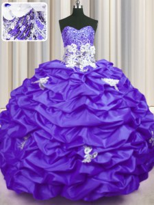 Latest Sequins Pick Ups With Train Ball Gowns Sleeveless Purple Quinceanera Gown Brush Train Lace Up