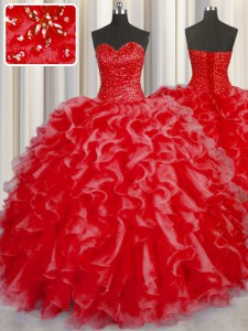 Romantic Halter Top Sleeveless Sweet 16 Dress Floor Length Beading and Ruffles Coral Red Organza