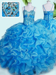 Spaghetti Straps Sleeveless 15th Birthday Dress Floor Length Beading and Ruffles Baby Blue Organza