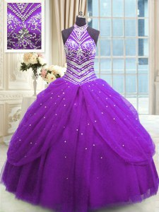 High-neck Sleeveless Lace Up Quinceanera Gown Purple Tulle