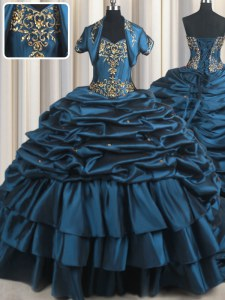 Navy Blue Taffeta Lace Up Ball Gown Prom Dress Sleeveless With Brush Train Beading and Appliques and Pick Ups