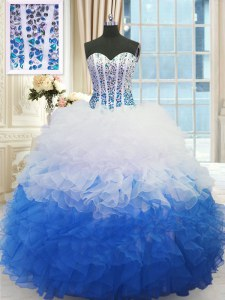 Latest Sweetheart Sleeveless Lace Up Vestidos de Quinceanera Blue And White Organza