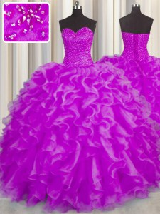 Fuchsia Sweetheart Lace Up Beading and Ruffles Quince Ball Gowns Sleeveless