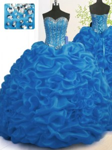 Hot Selling Royal Blue Ball Gowns Organza Sweetheart Sleeveless Beading and Ruffles With Train Lace Up 15th Birthday Dress Brush Train