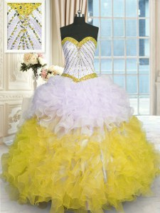 Yellow And White Lace Up Sweet 16 Dresses Beading and Ruffles Sleeveless Floor Length